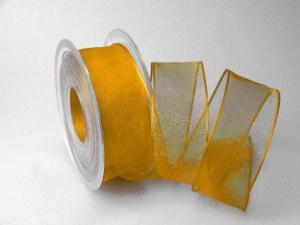 Organzaband gelb mit Draht 40mm - Schleifenband günstig online kaufen!