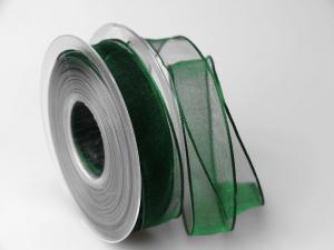 Organzaband grün 25mm mit Draht