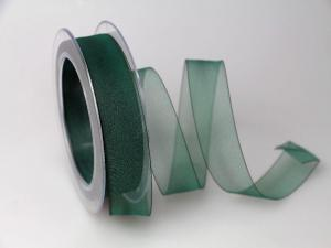 Organzaband Grün ohne Draht 25mm