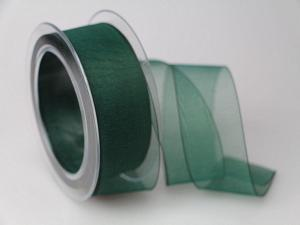 Organzaband Grün ohne Draht 40mm