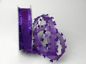 Organzaband Heart Picot ohne Draht lila 25mm
