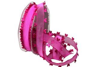 Organzaband Heart Picot Pink ohne Draht 25mm - Schleifenband günstig online kaufen!