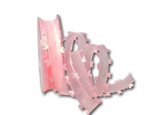 Organzaband Heart Picot Rosa ohne Draht 25mm
