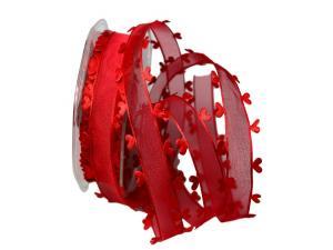 Organzaband Heart Picot Rot ohne Draht 25mm