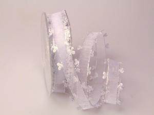 Organzaband Heart Picot Silber ohne Draht 25mm