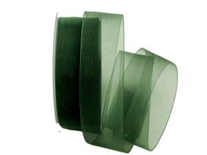 Organzaband Luminoso dunkelgrün 40mm ohne Draht - Schleifenband günstig online kaufen!