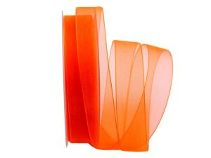 Organzaband Luminoso orange 25mm ohne Draht
