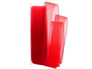 Organzaband Luminoso rot 25mm ohne Draht