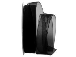 Organzaband Luminoso schwarz 25mm ohne Draht