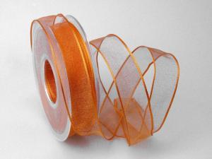 Organzaband orange 25mm mit Draht - Schleifenband günstig online kaufen!