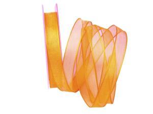 Organzaband orange hell 15mm mit Draht - Schleifenband günstig online kaufen!