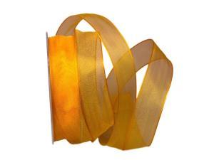 Organzaband orange hell 25mm mit Draht - Dekoband günstig online kaufen!