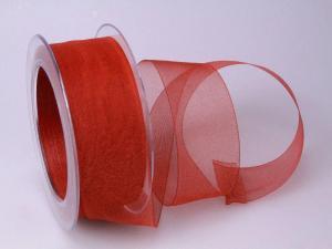 Organzaband Organza Rot ohne Draht 40mm