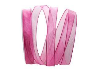 Organzaband rosa mit Draht 15mm