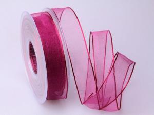 Organzaband pink 25mm mit Draht