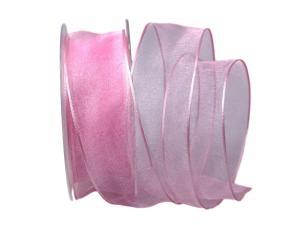 Organzaband rosa mit Draht 40mm - Dekoband günstig online kaufen!