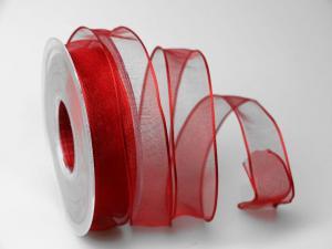 Organzaband rot 25mm mit Draht - Schleifenband günstig online kaufen!