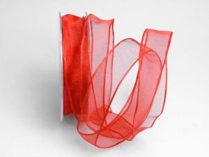 Organzaband rot mit Draht 25mm - Geschenkband günstig online kaufen!