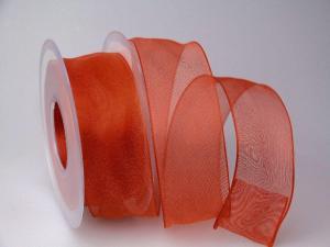Organzaband Rot mit Draht 40mm