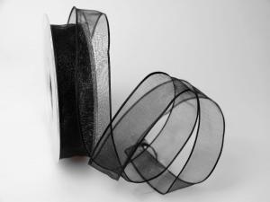 Organzaband schwarz 25mm mit Draht