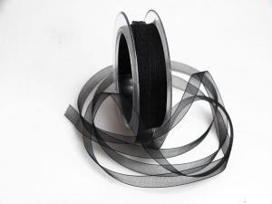 Organzaband schwarz ohne Draht 10mm