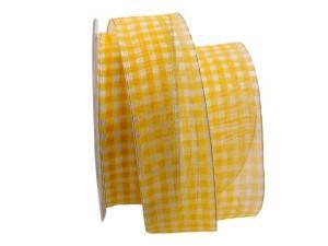 Organzaband Traslucido gelb/ weiß 40mm mit Draht