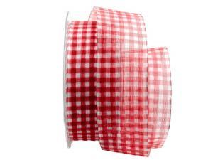 Organzaband Traslucido rot / weiß 40mm mit Draht