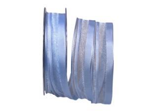 Organzastreifen hellblau 25mm mit Draht