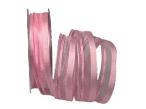 Organzastreifen rosa 25mm mit Draht