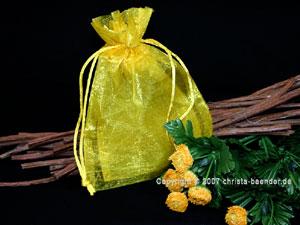 Organzasäckchen 7,5 x 10cm Gelb 10 Stück