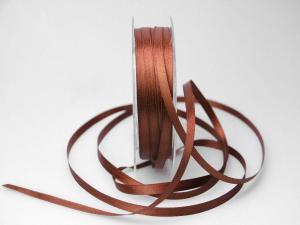 Satinbändchen Braun ohne Draht 6mm