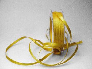 Satinbändchen Gelb ohne Draht 6mm