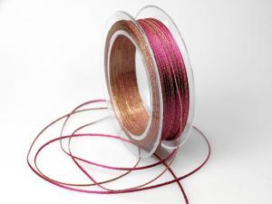 Satinbändchen Goldkante pink 2-3mm ohne Draht - im Bänder Großhandel günstig kaufen!