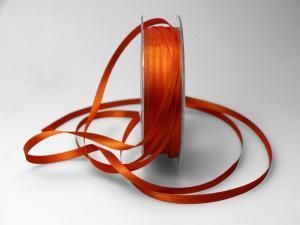 Satinbändchen Orange ohne Draht 6mm