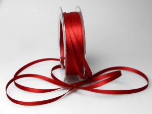 Satinbändchen Rot ohne Draht 6mm