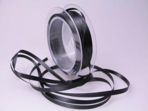 Satinbändchen Schwarz ohne Draht 6mm