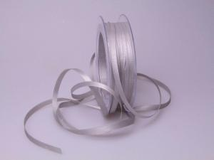 Satinbändchen Silbergrau ohne Draht 6mm