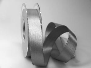 Satinband Grau ohne Draht 25mm im Bänder Online-Shop günstig kaufen