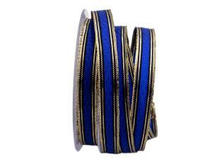 Schleifenband Rombo blau / gold 15mm mit Draht