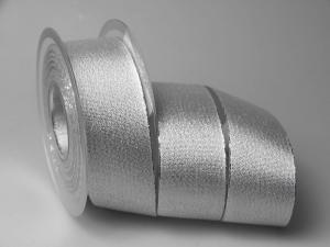 Silberband Brokatsilber 40mm ohne Draht