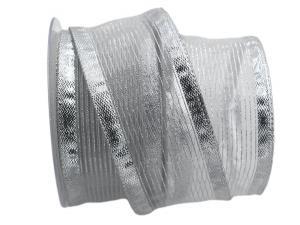 Silberband Transparente Line silber 65mm mit Draht