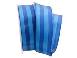 Streifenband Bicolore blau / türkis 40mm mit Draht