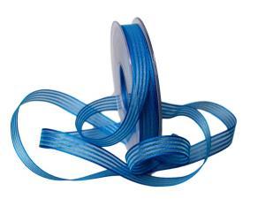 Streifenband Regenbogen 15mm blau ohne Draht