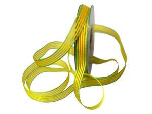 Streifenband Regenbogen 15mm gelb ohne Draht