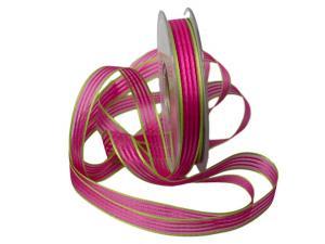 Streifenband Regenbogen 15mm pink ohne Draht