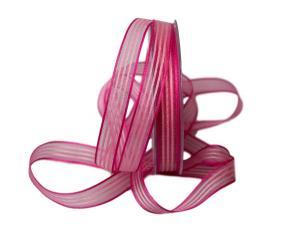 Streifenband Regenbogen 15mm rosa ohne Draht