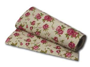 Tischband Juteband Blumen natur rosa 280mm ohne Draht