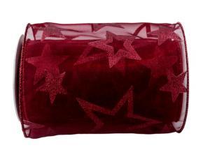 Tischband Sternentraum Bordeaux 150 mm mit Draht