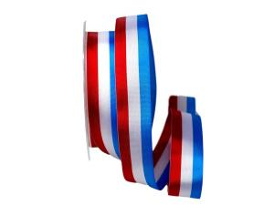 Uni Nationalband Luxenburg rot /weiß / blau 25mm ohne Draht