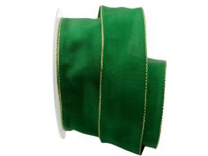 Uniband Goldkante grün 40mm mit Draht
